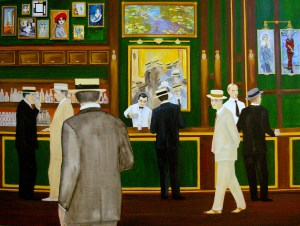 """Cafe des Arts"" Mixed Media on Canvas 48"" x 36"" Andres Conde"