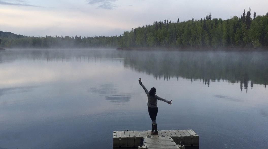 foggy morning lake