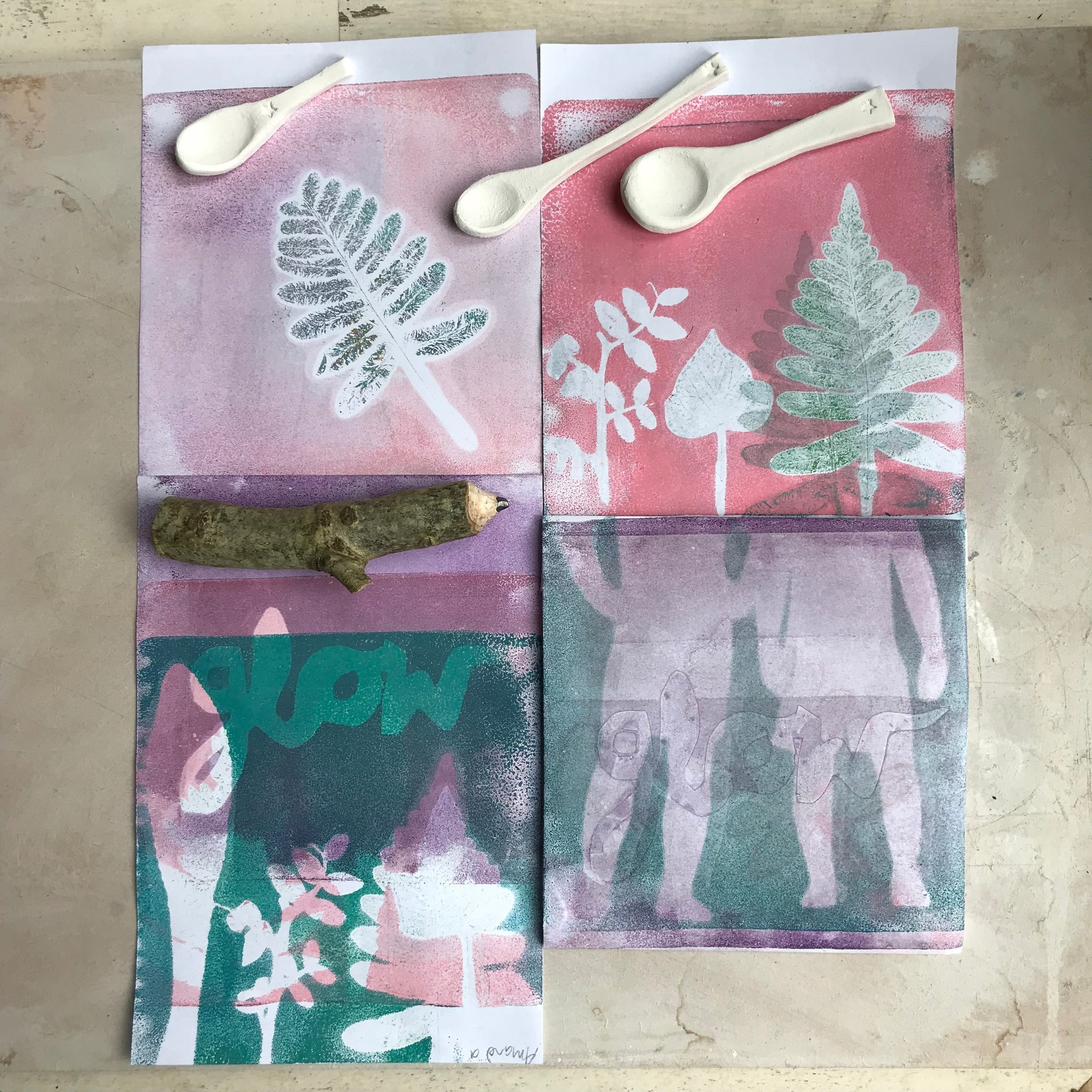 Workshops in Printmaking with Kathy Hutton and Ceramic Spoons with Katie Robbins.