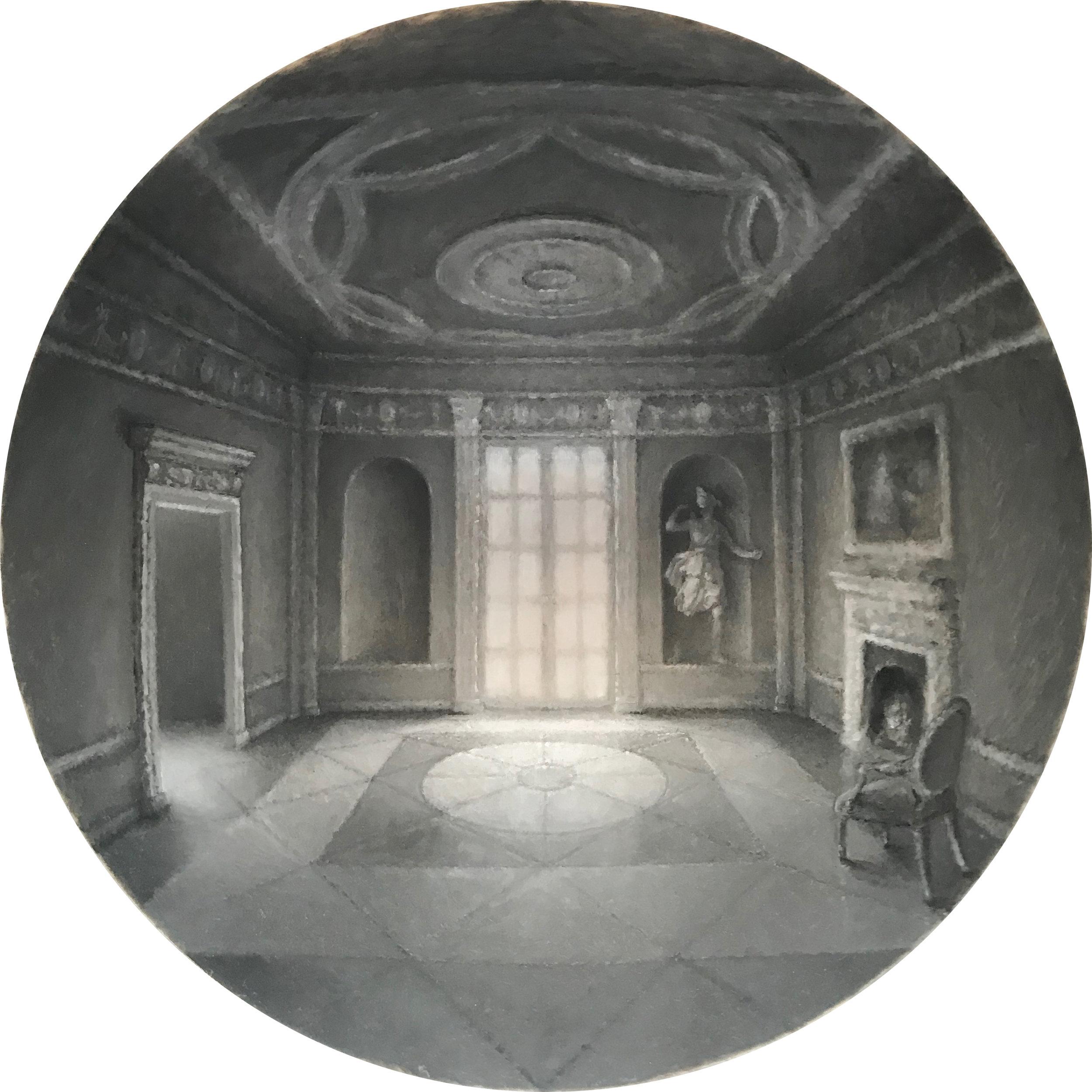 Withdrawing Room I (in progress)  oil on acrylic hemisphere