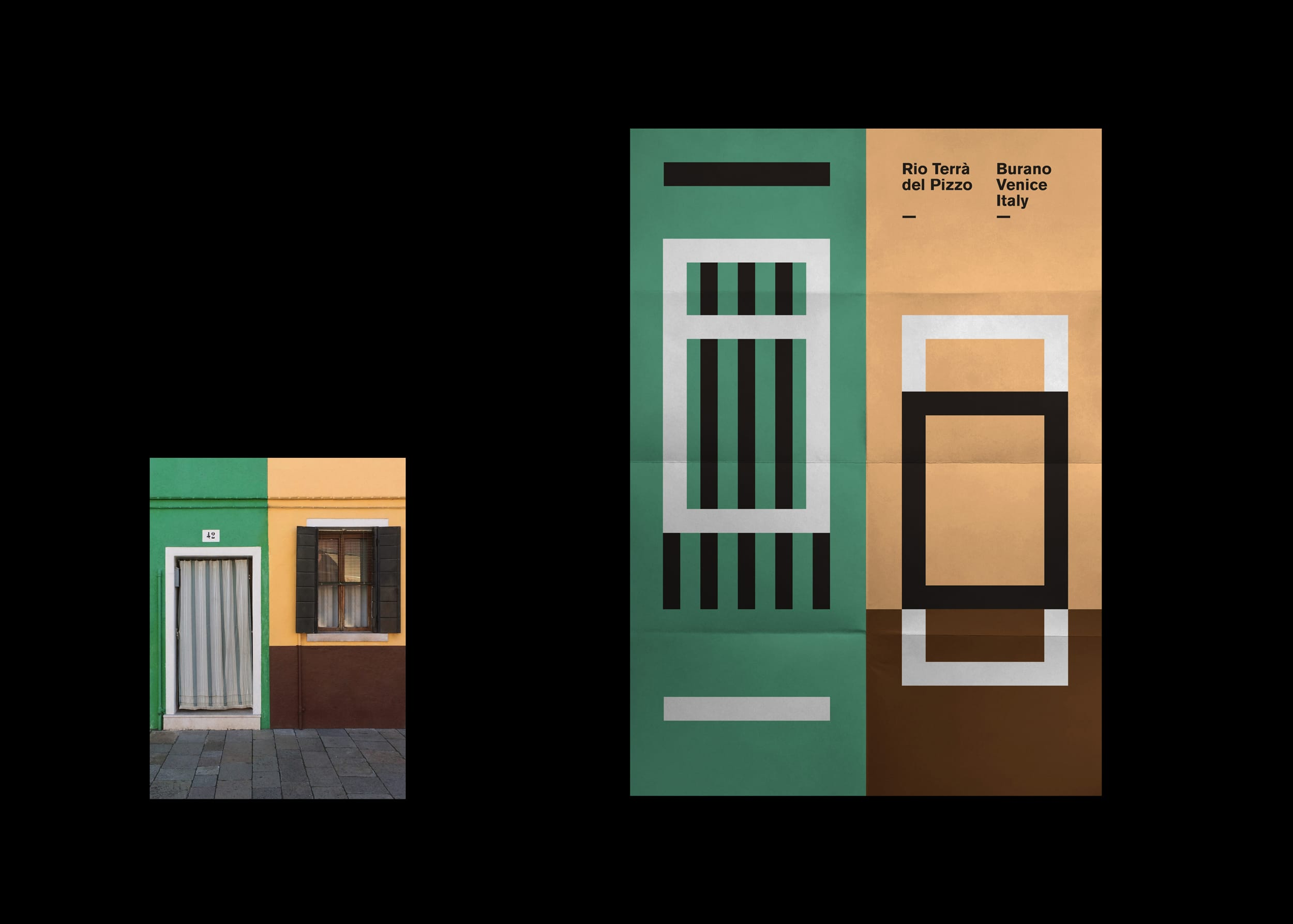 Burano poster series – Focus on yellow, green and brown house