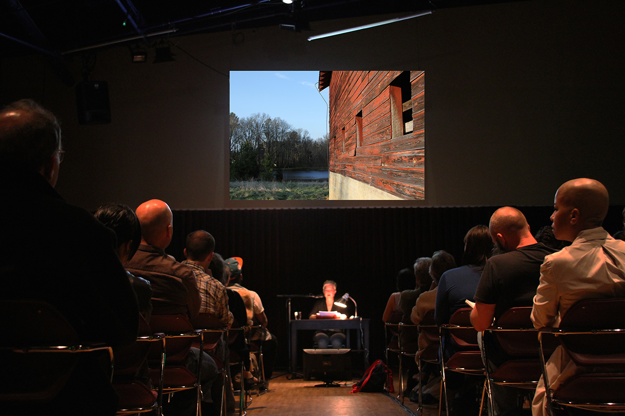 No place like home , performance with projected video and recorded sound, Calderwood Pavilion, Boston Center for the Arts, Boston, MA, 2013 (Photograph: Sarah Hill)