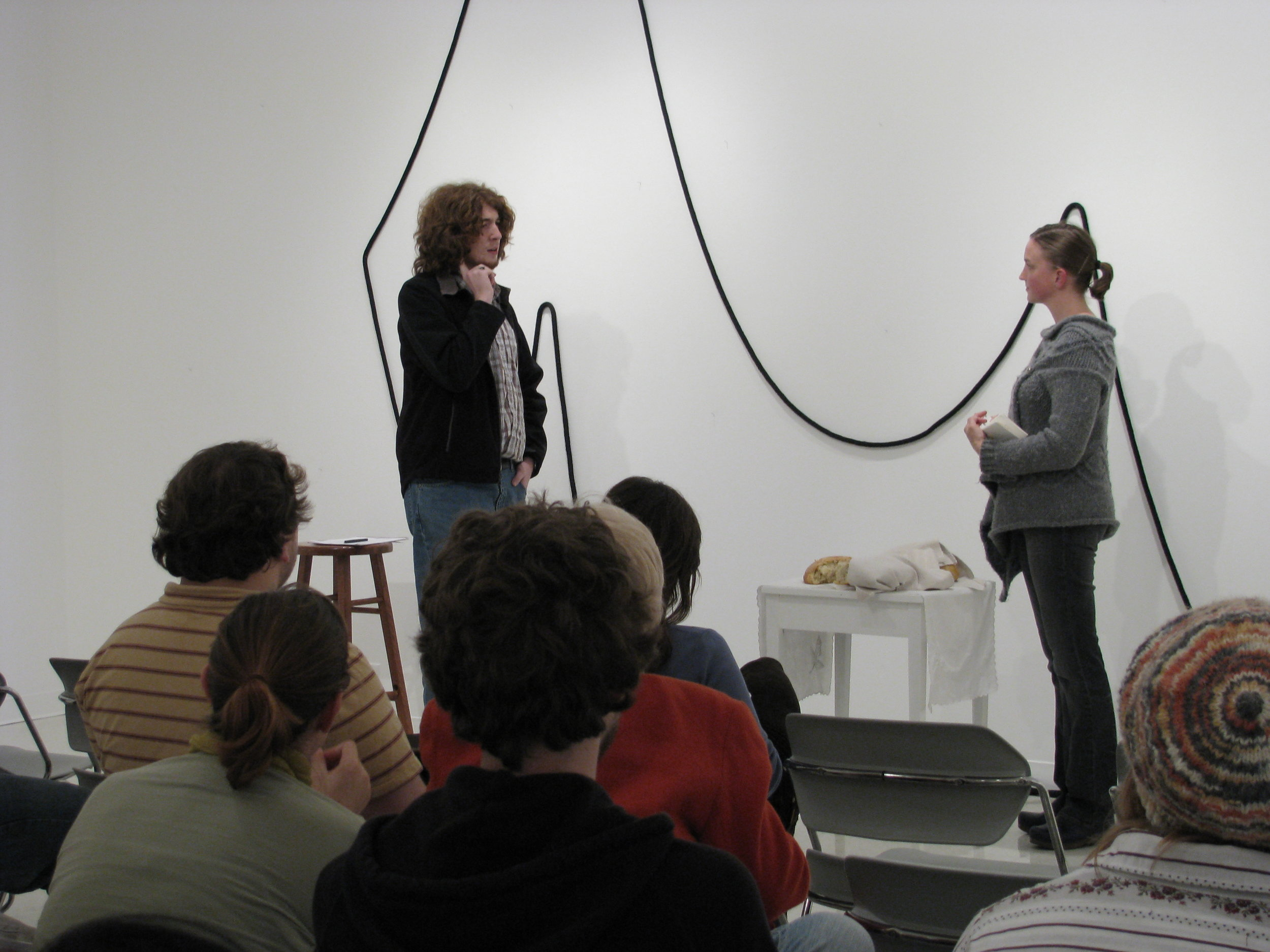 Where the arms hook onto the body , performance,  Many kinds of nothing , Montserrat College of Art, Beverly, MA, 2008