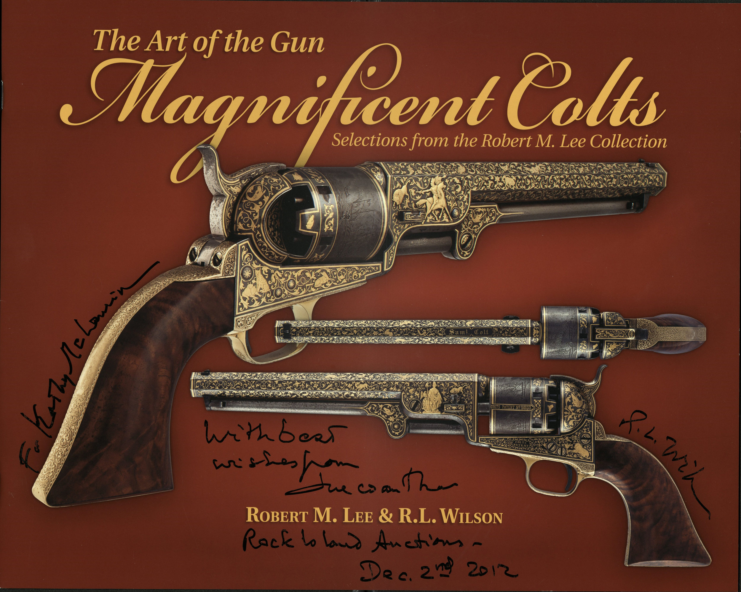 Live and learn die and forget it all , detail (inscription),  Art of the Gun: Magnificent Colts  on display, W. Van Alan Clark Library, Tufts University, School of the Museum of Fine Arts, Boston, MA, 2014