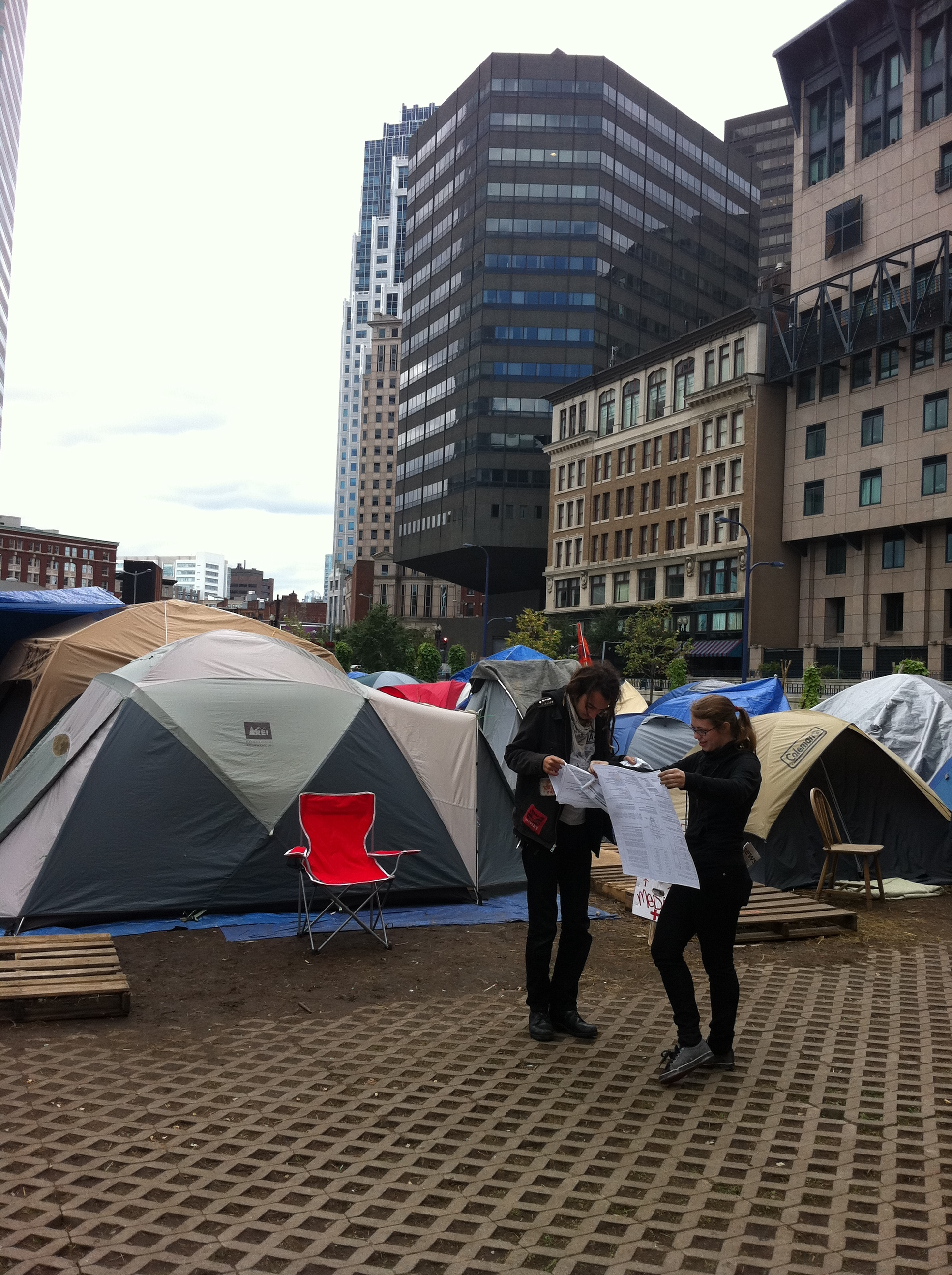 Information Bandana , intervention, Occupy Boston, Dewey Square, 2011