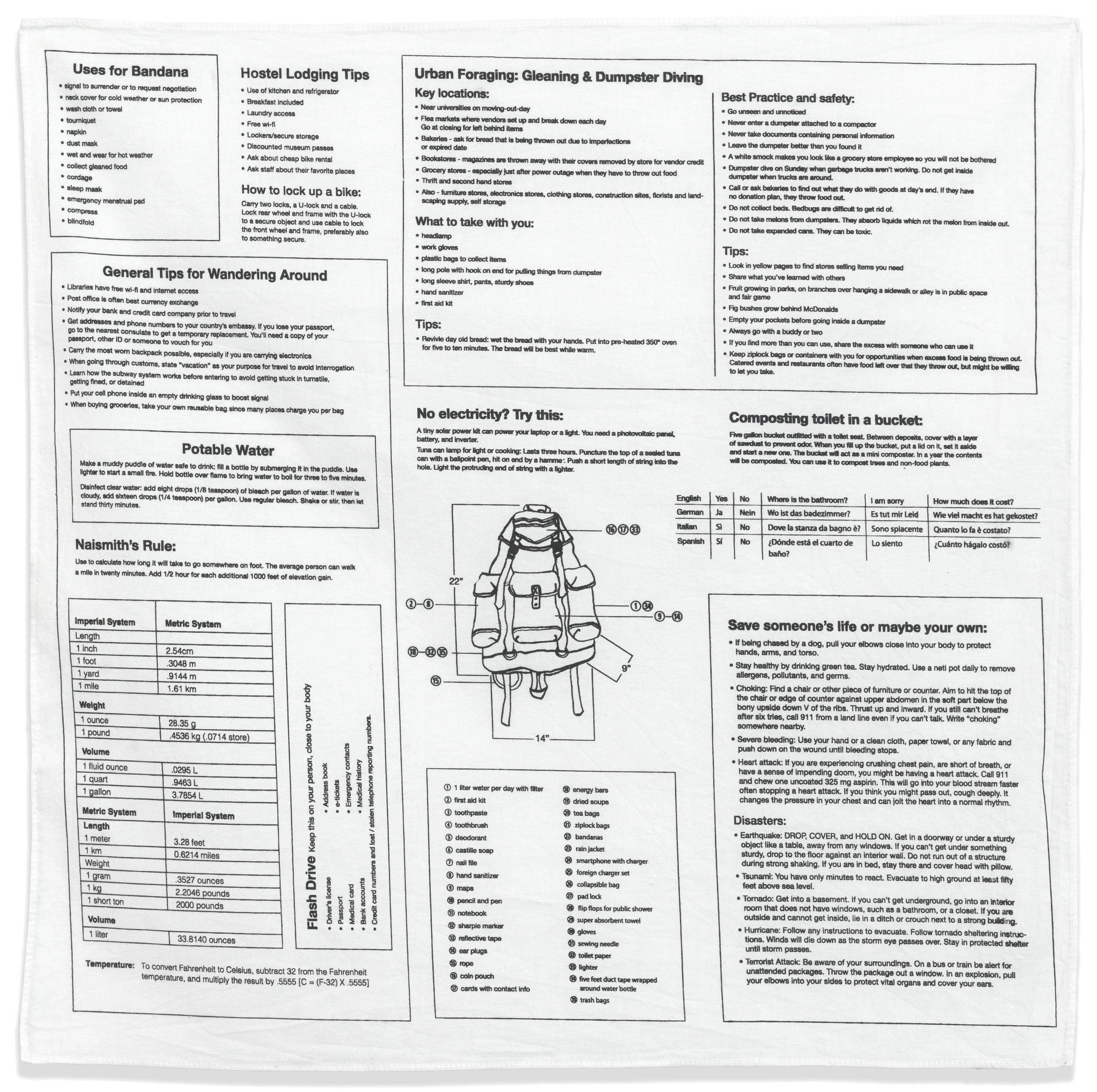Information Bandana,  screen printed cotton, edition 60, 2011