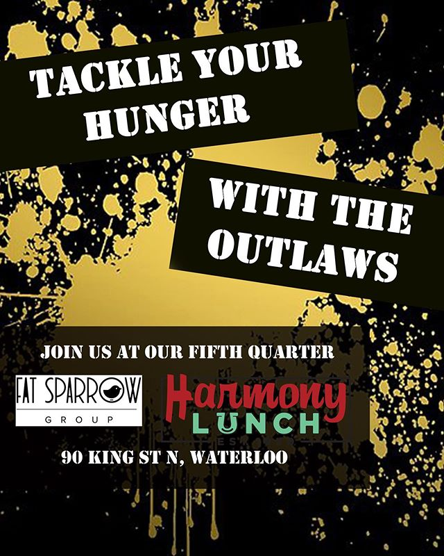 Join the @tcoutlawsfootball after the game @harmony_lunch  for a classic single or our favourite the Pig Mac. 90 King St North. #local #fatsparrowgroup #food #football