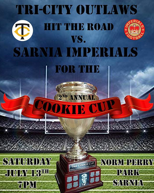 The second annual Cookie Cup kicks off this Saturday against the @sarniaimperials at Norm Perry Park. The @tcoutlawsfootball look to hold onto the cup after winning last years inaugural game. #local #sports #football #cookiecup