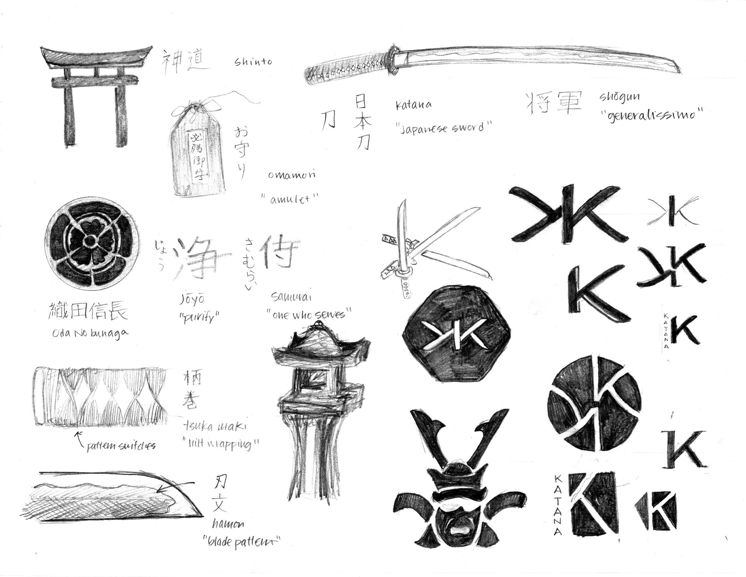 Sketches for identity, branding, iconography, and packaging.