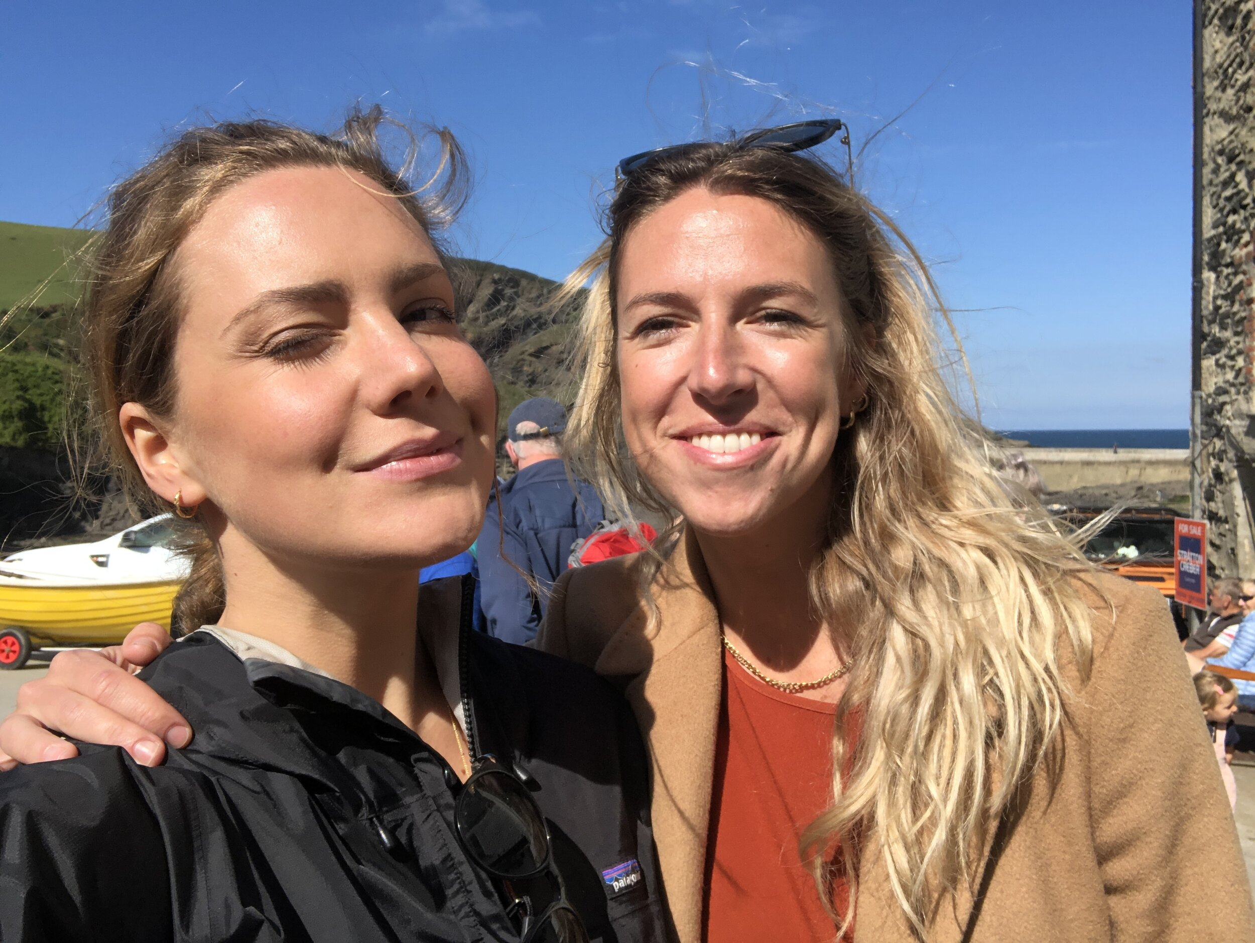 Katy and I, having pint of Doom Bar on the slipway in Port Issac - holiday heaven.