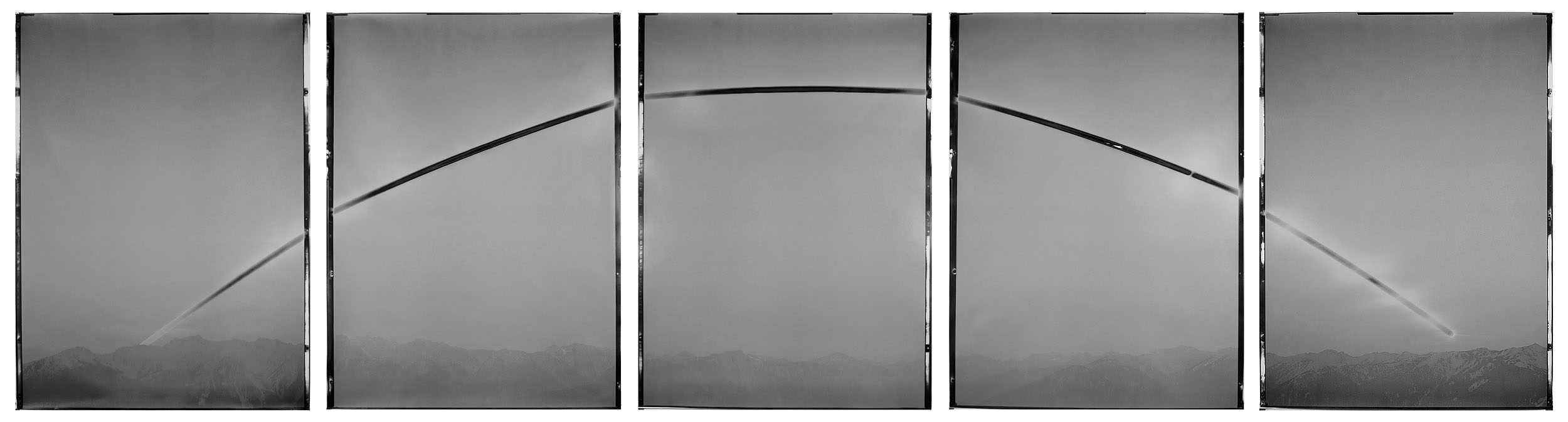 "Sunburned GSP #666 (Hurricane Ridge, WA), 2013. Six 30""x40"" unique gelatin silver paper negatives. Private collection"