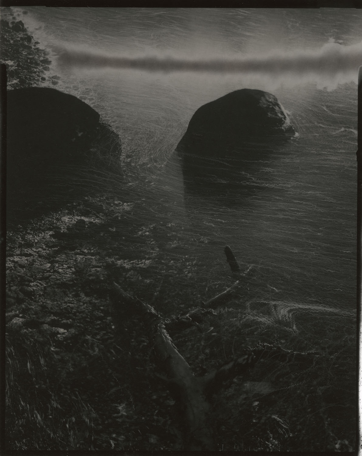 """Tidal #28, 2017. 4""""x5"""" unique gelatin silver paper negative. Courtesy of Haines Gallery, San Francisco"""