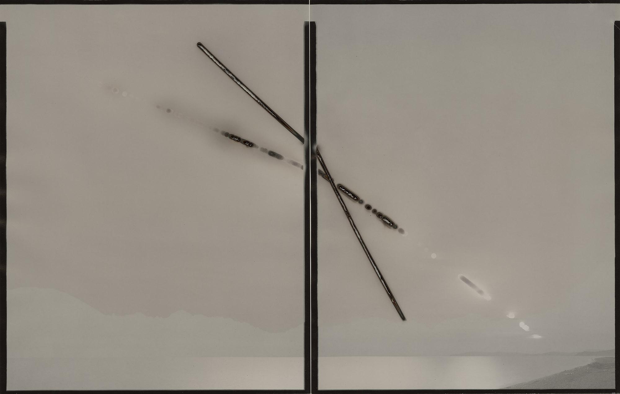 "Heliograph #71(Strait of Juan De Fuca/Mojave),2015. Two 11""x14"" unique paper negatives. Private collection"