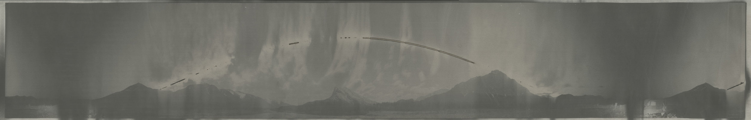 "Cirkut #3 (Dietrich River, Alaska, within the arctic Circle, 29 hours), 2015. 8""x 49.5"". Unique silver based paper negative. Courtesy of Haines Gallery, San Francisco"