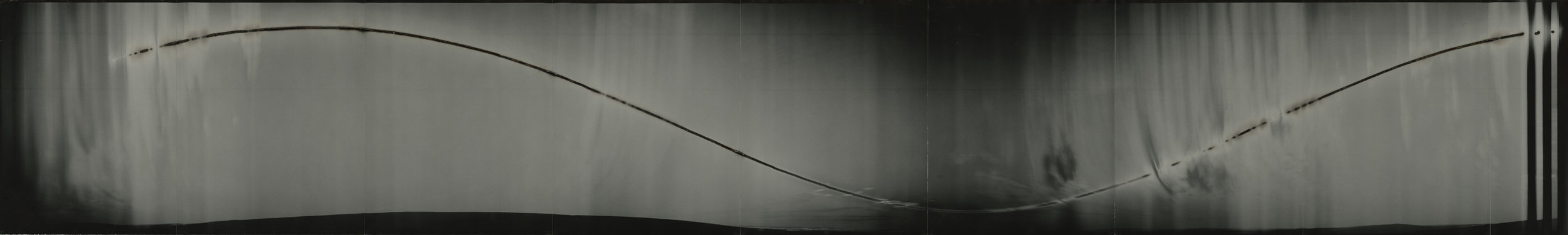 "Cirkut #10 (North Slope, Alaska, within the Arctic Circle, 28 hours), 2014. 14""x 92"". Unique constructed gelatin silver paper negative. Personal collection."