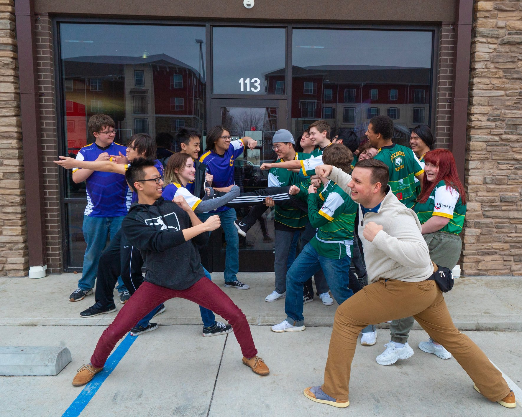 "We had a lot posing for this ""brawl"" fight picture between two rival schools."