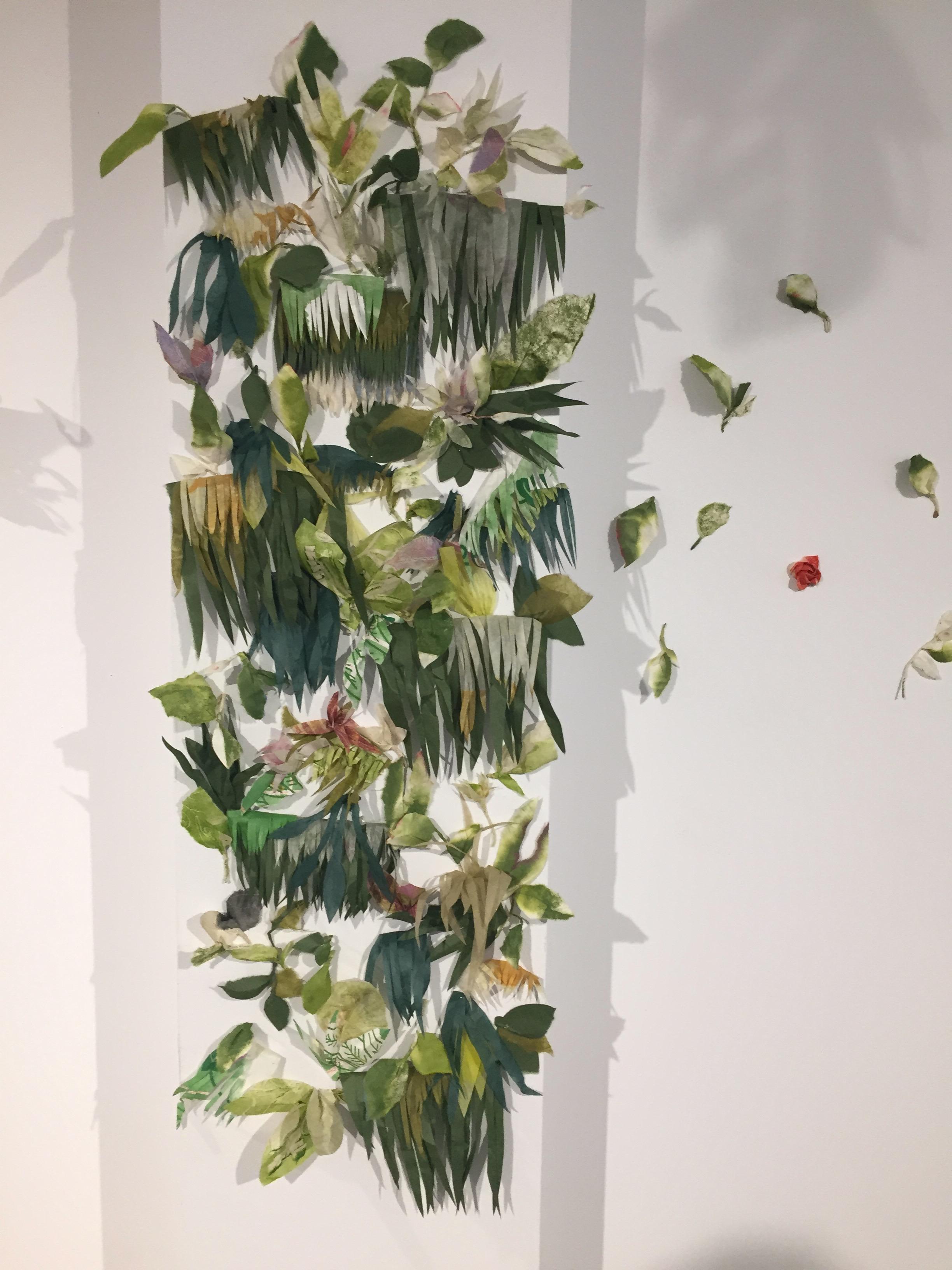 living wall of cut washi