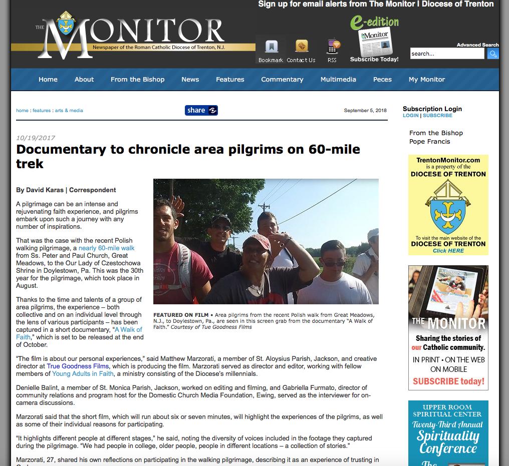 A Walk of Faith Film - Trenton Monitor Article
