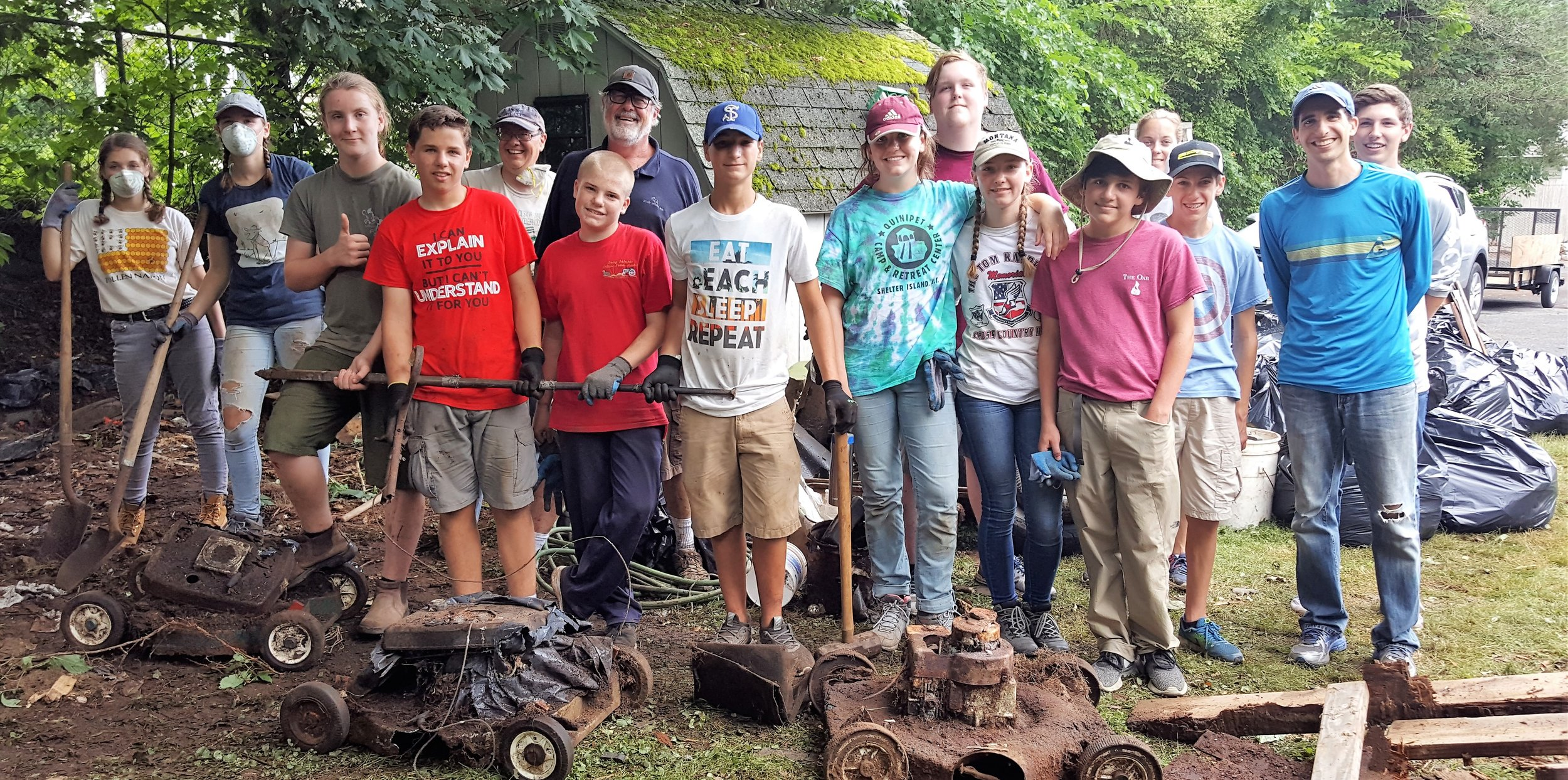 Summer Mission Trip 2018   The All-Faith Youth Group's 4th Annual Mission Trip was a great success! They had 12 teens participate this year.  The first day, they worked at a house in Mattituck to help clear a property that was severely overgrown.  The next day, they helped tear down two old sheds for the 91-year-old homeowner. On the third day, the kids went to the Country Fair in Medford, where they drove go-karts,  played mini-golf, went back on the go-karts, played laser tag, and returned to the  go-karts one last time. They really liked the go-karts!