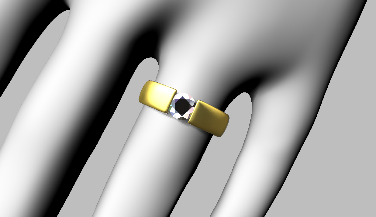Modified design to .60 carat diamond, yellow gold and finger size Q
