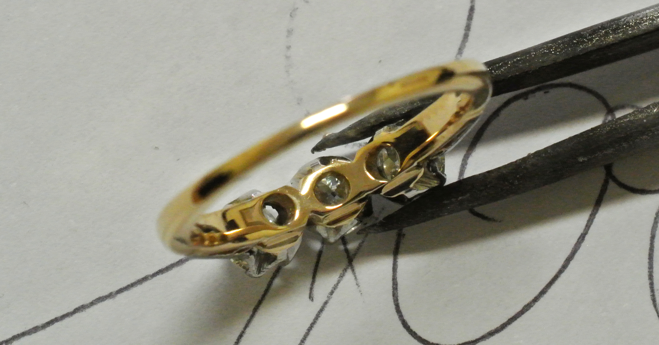 Example of a ring worn down from rubbing creating sharp edges.