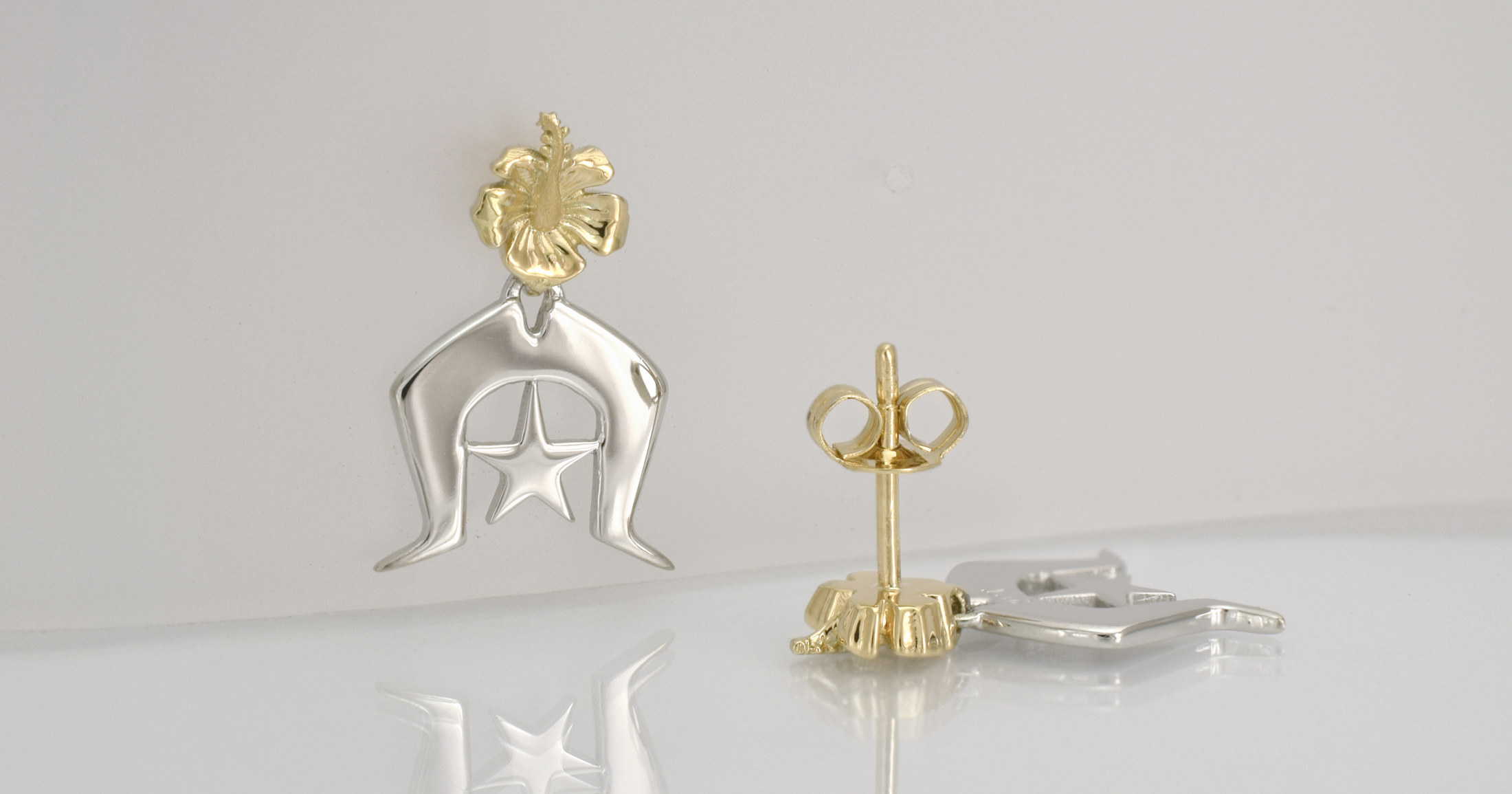 9ct yellow and white gold