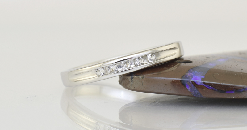 The finished ring in 9ct Palladium white gold.