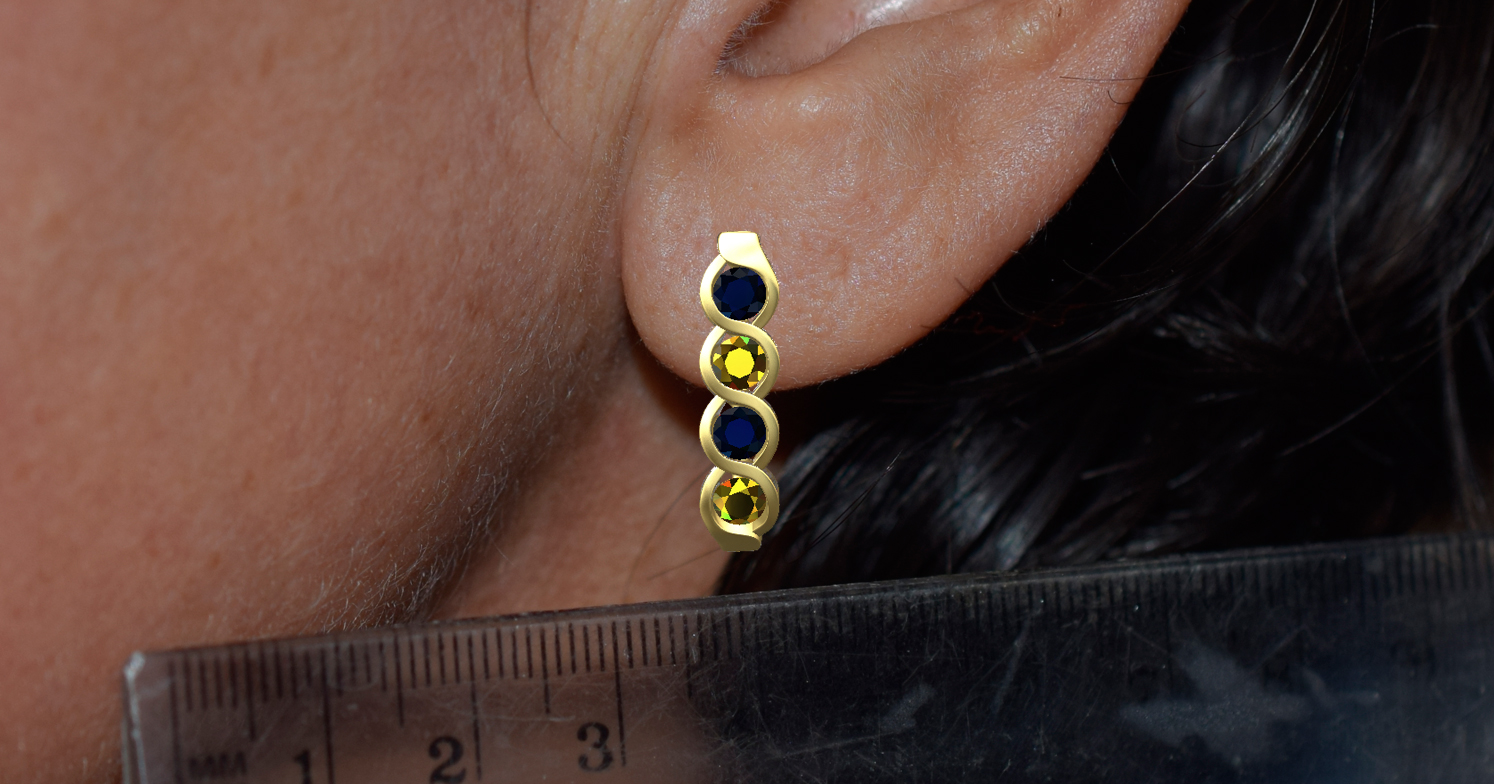 Digital mockup of the design scaled to the customers ear