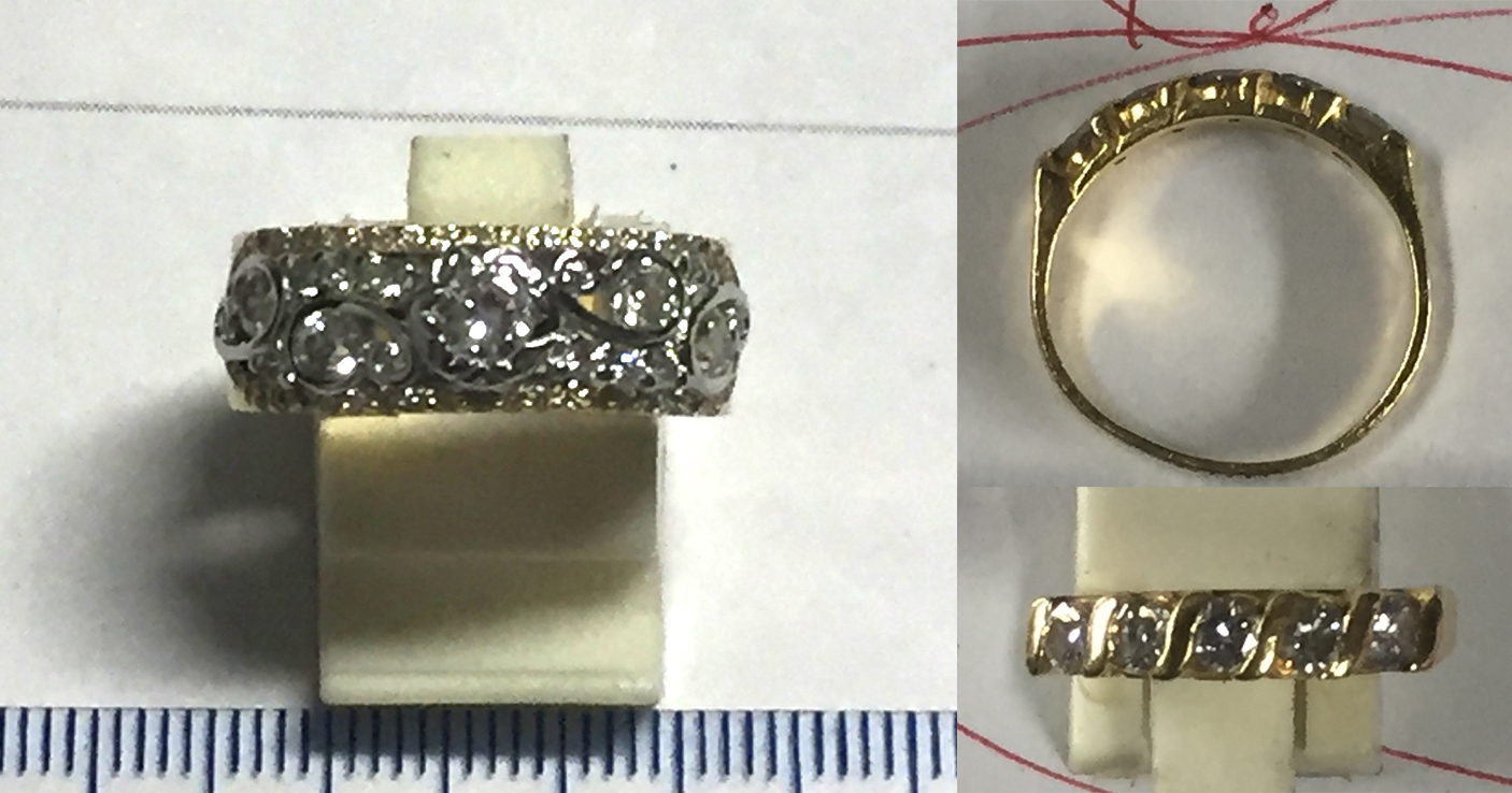 The style to be matched on the left with the ring to be remodelled on the right.