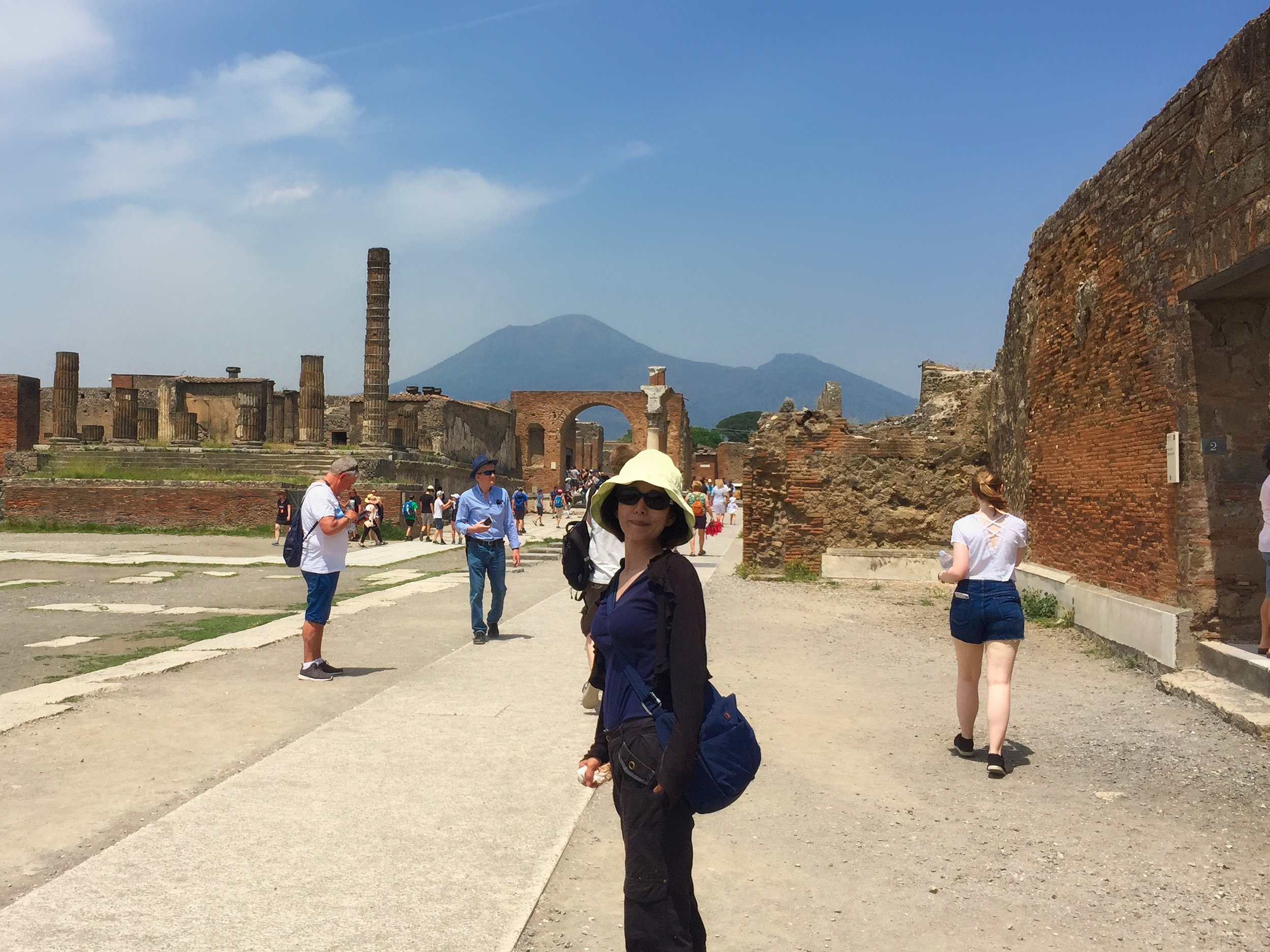 On the way out with Mount Vesuvius in the background. I was surprised how far away it is.