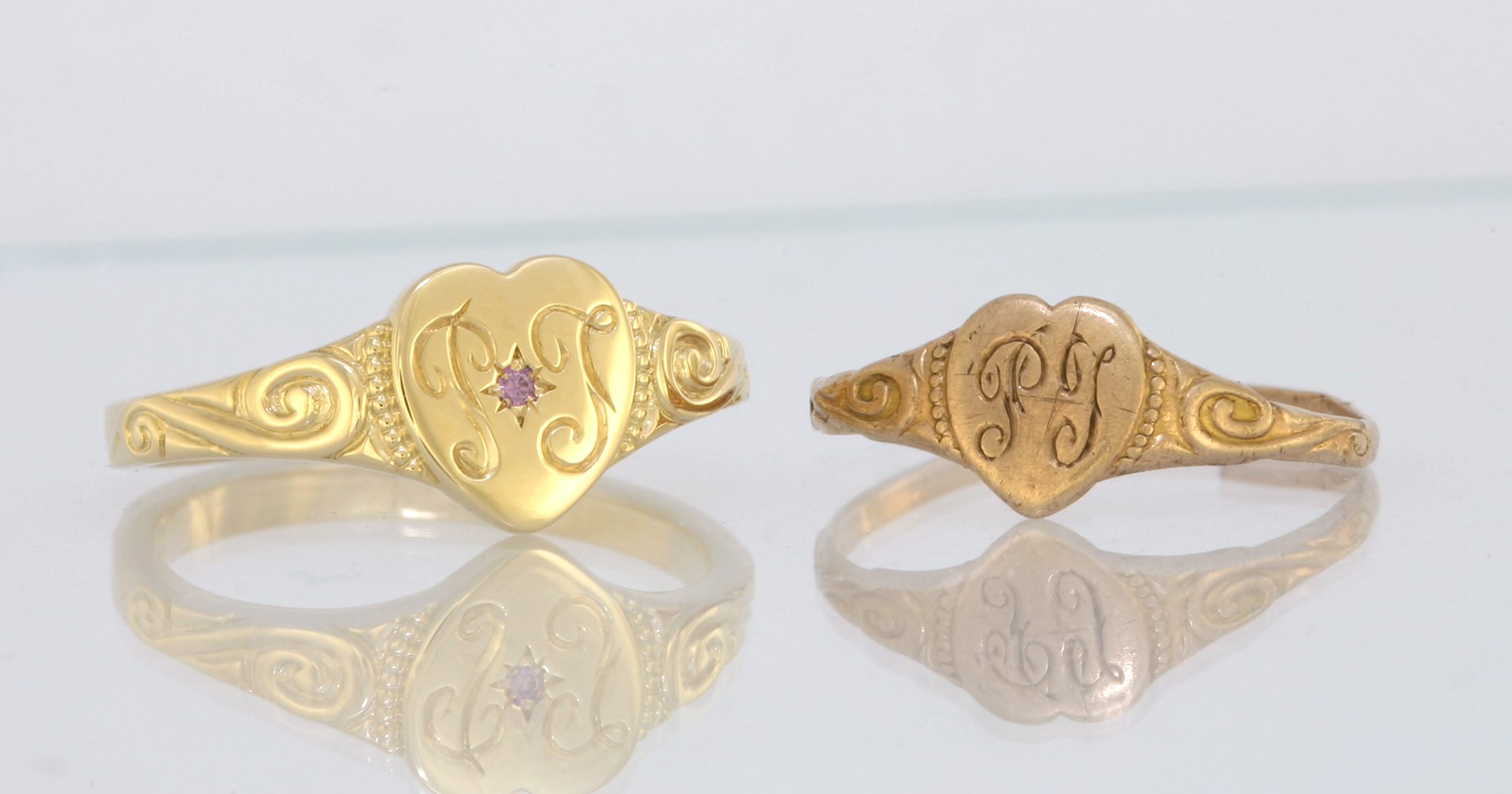 The ring I made on the left with the ring it was modelled off on the right.