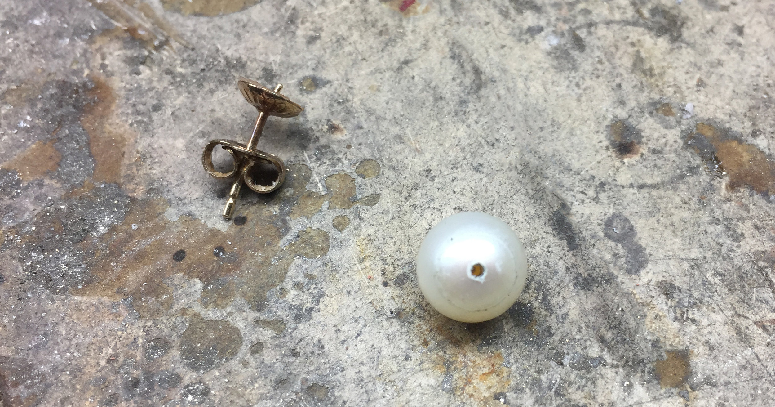 The pearl that would not stay on the post.