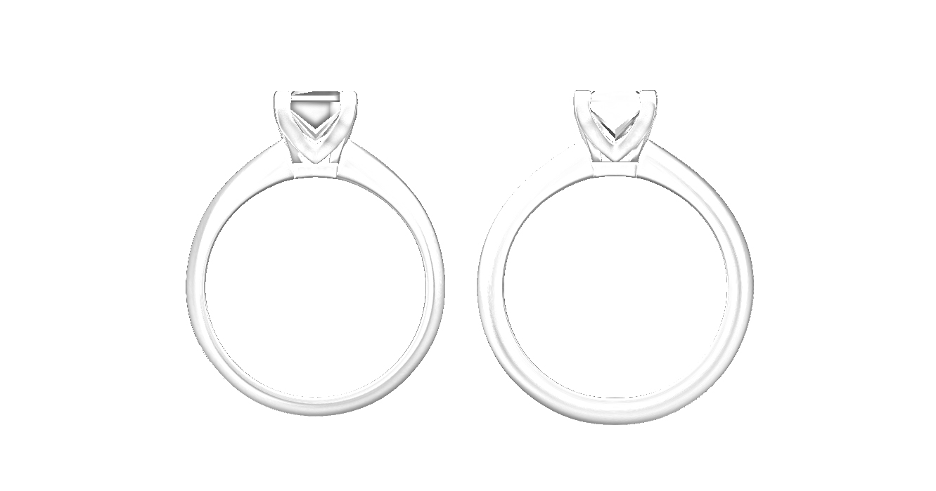 The original engagement ring on the left and the increase in thickness required shown on the right