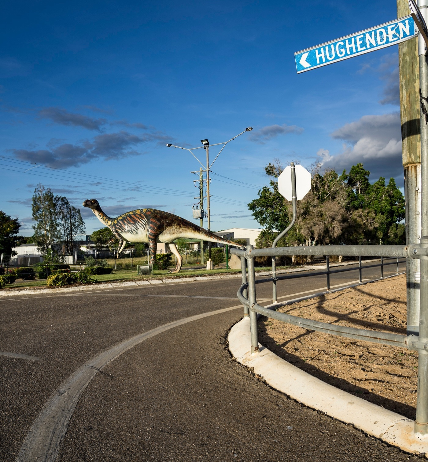Main St in Hughenden, part of the Dinosaur Tourist Trail.