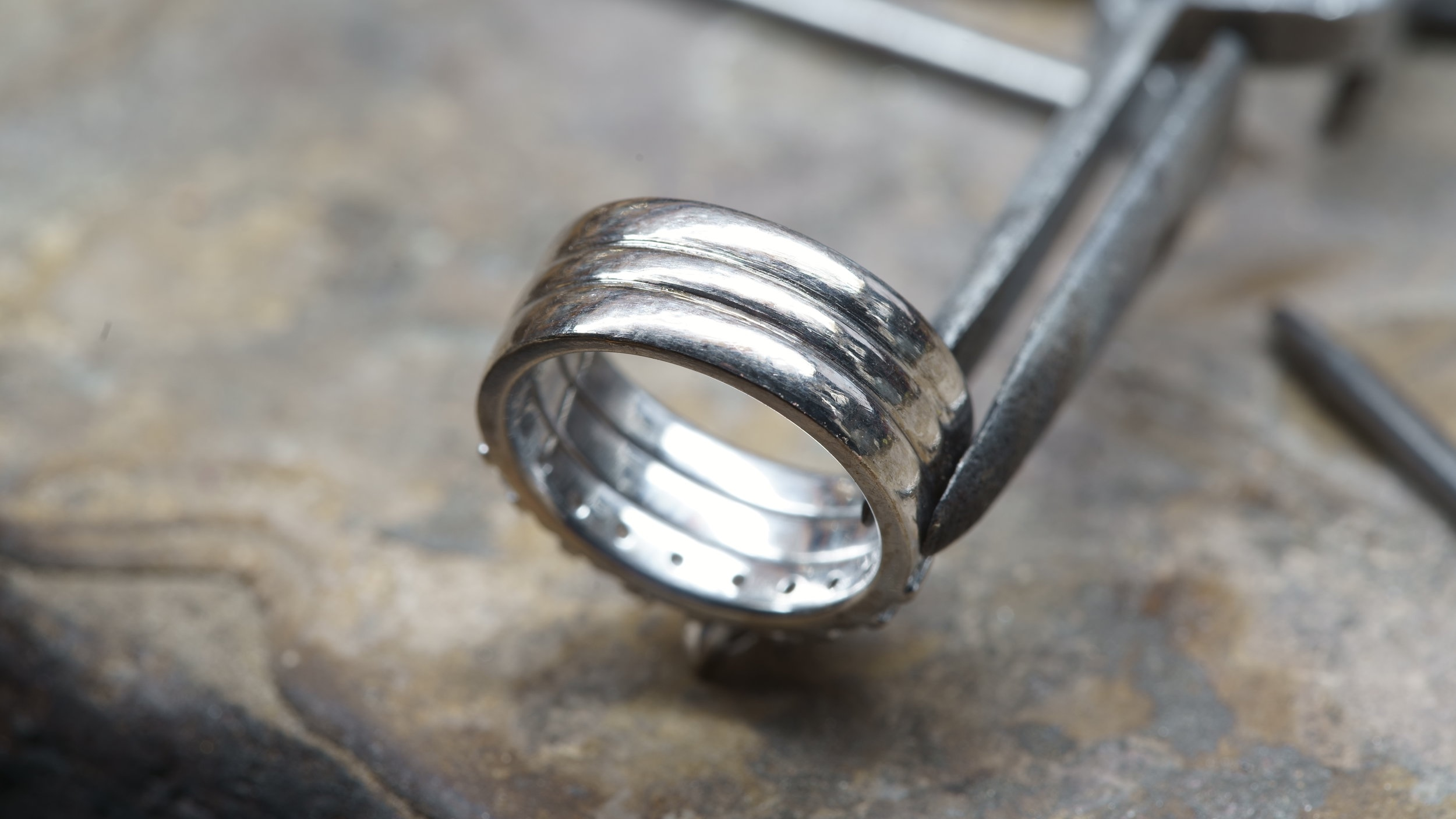 The ring restored after hours of burnishing.