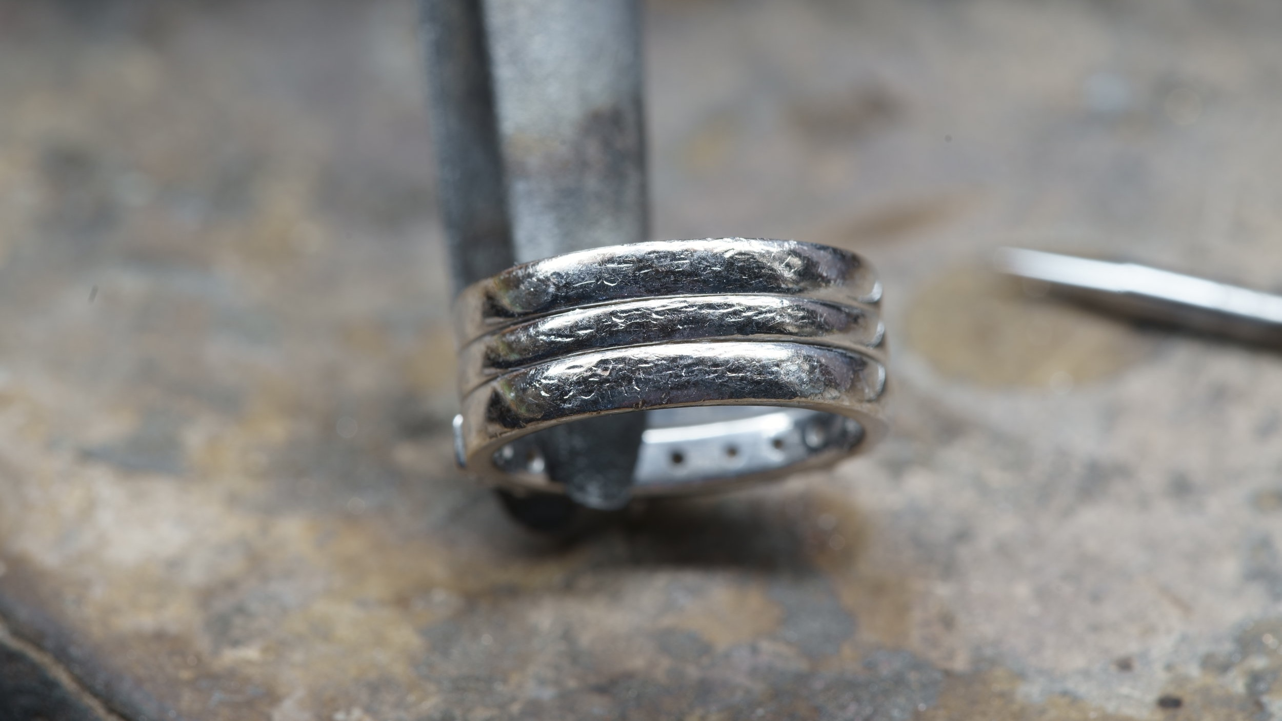 Marks on the rings after 1 year of wear.