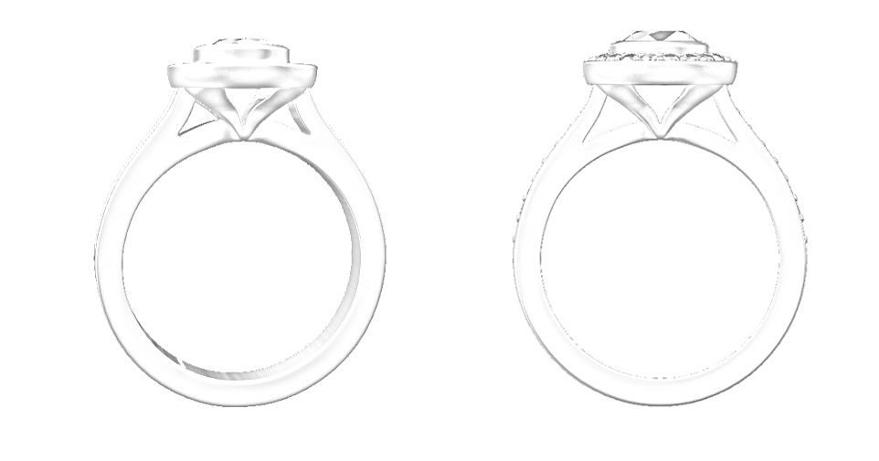Draft design on the left and on the right shown with changes I would would make with the actual ring.