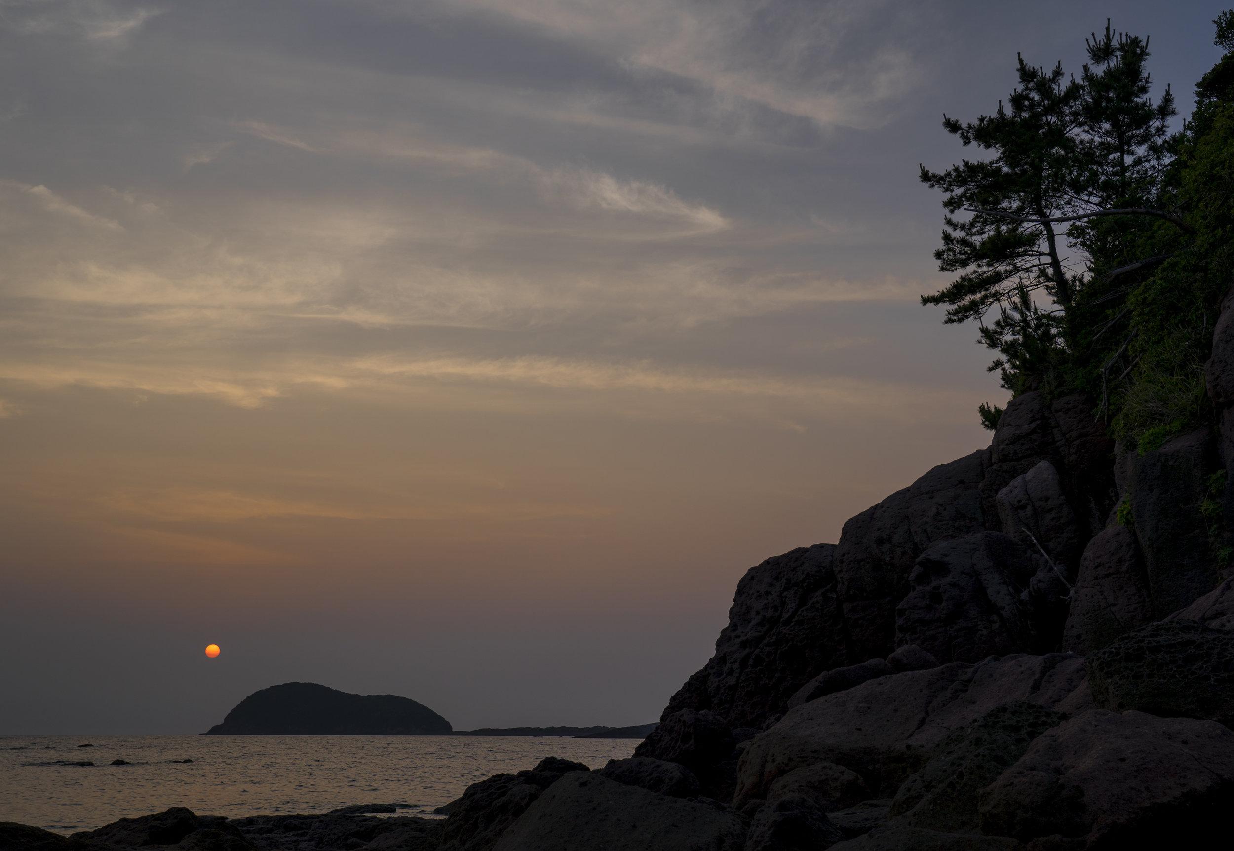 Setting sun in Kagoshima, Japan. 16th June 2019.