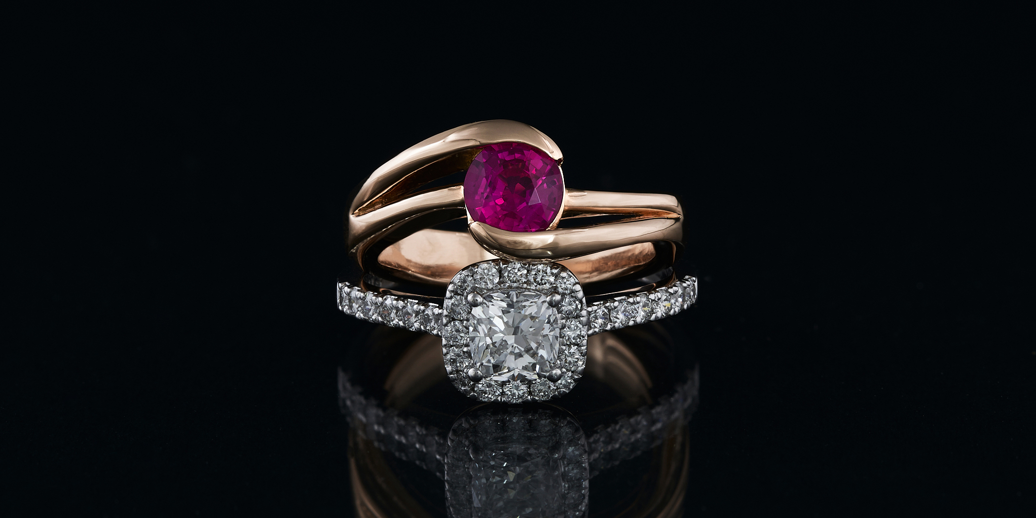 A remade Ruby proposal ring and one that may or may not be remade.