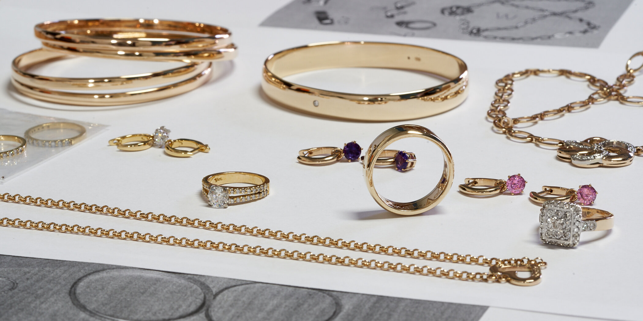 Some of the jewellery I have made for a customer over the last 15 years in for a free checkup and clean this week.