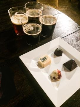 Flight of 4 dark beers and the 4 chocolates