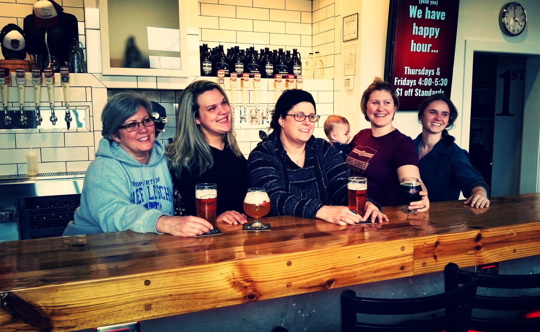 From from left to right Deb Russell beertender, Brittany Henderson beertender, Jessi Hoeft co-owner, talker of beer, Maddon Williams brewery baby, Megan Arrington-Williams director of operations and marketing, and Carey McGehee beertender. Not pictured Jodi Bahr beertender and Gayle Mohlman bookkeeper