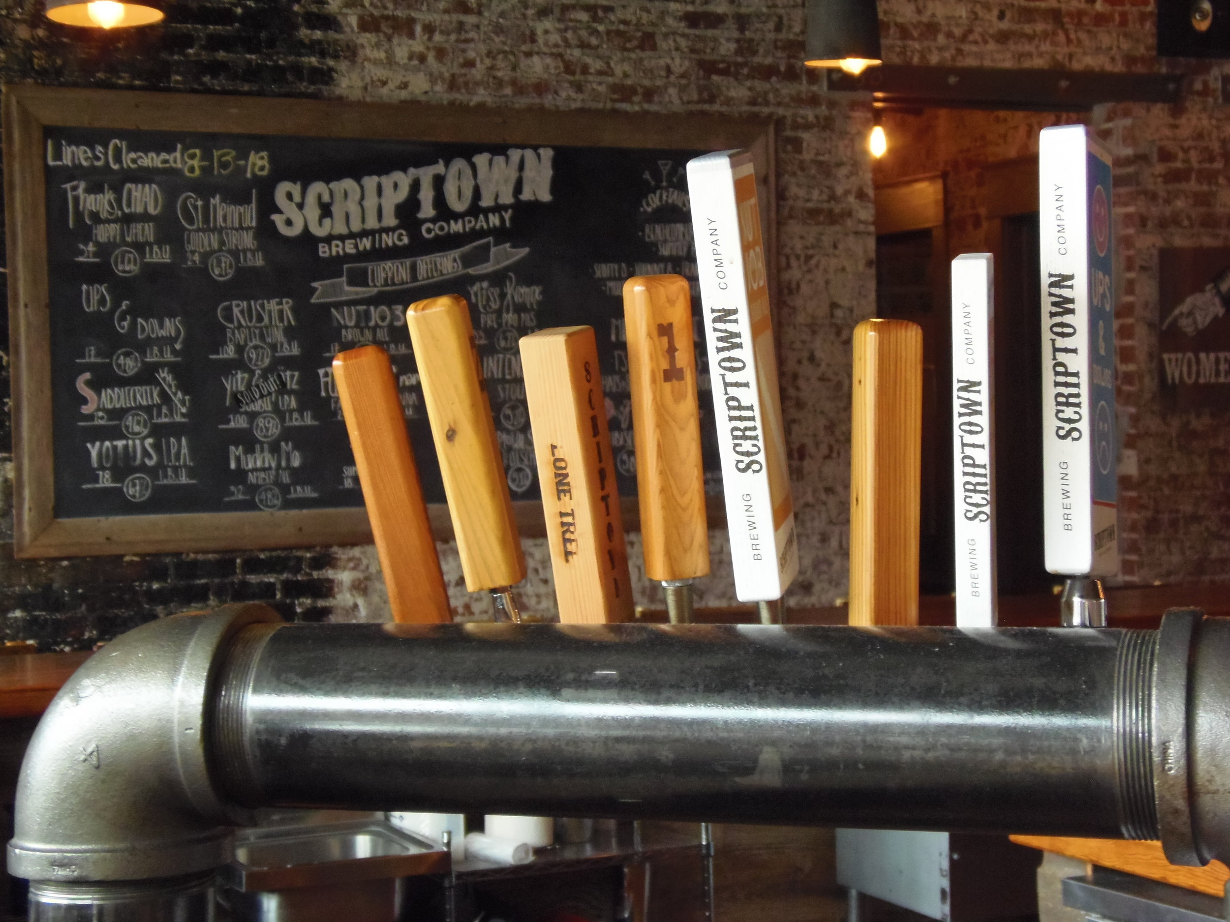 The very cool tap handles that you see when you walk in the taproom
