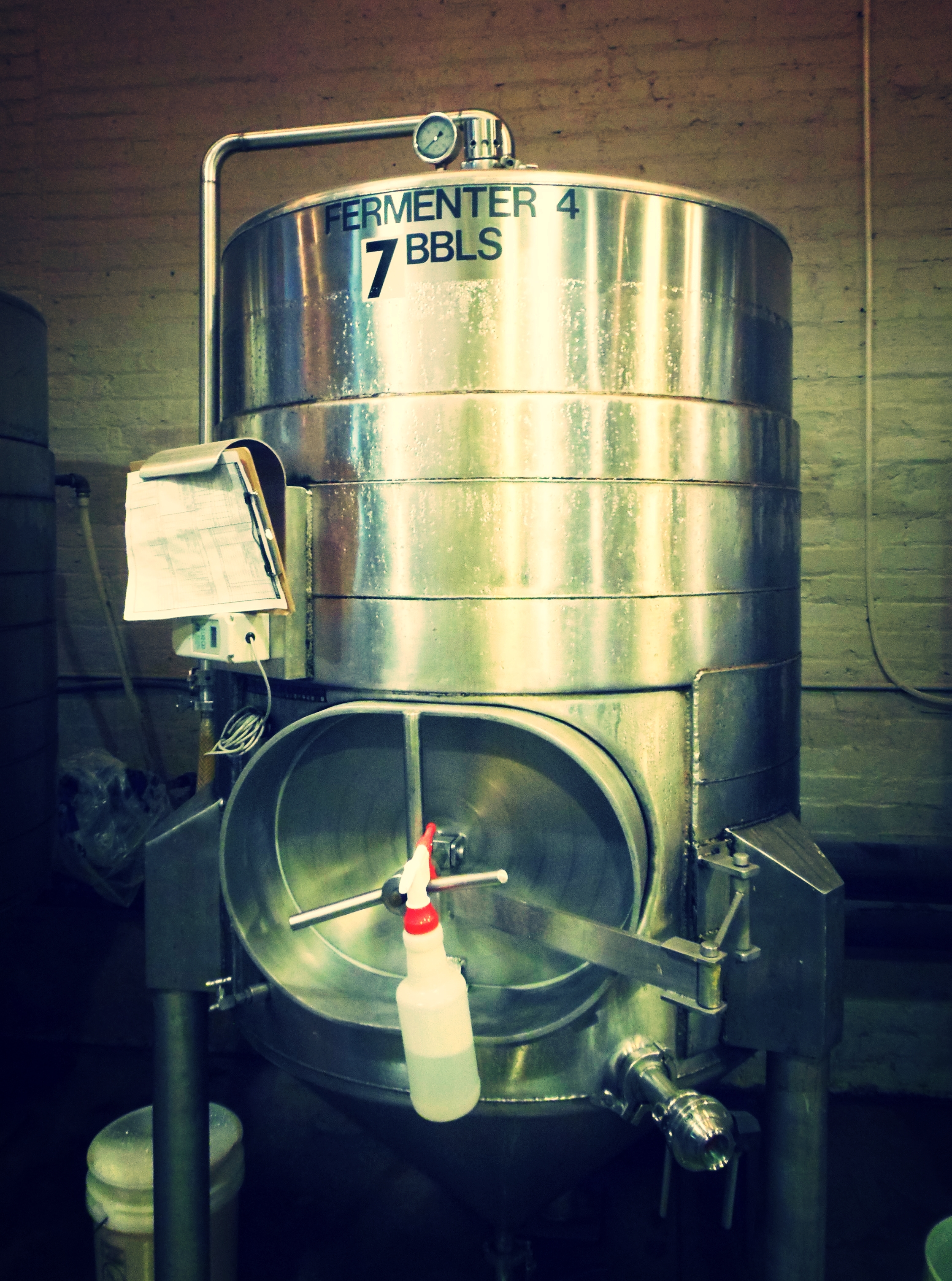 One of the fermenters in the brewery