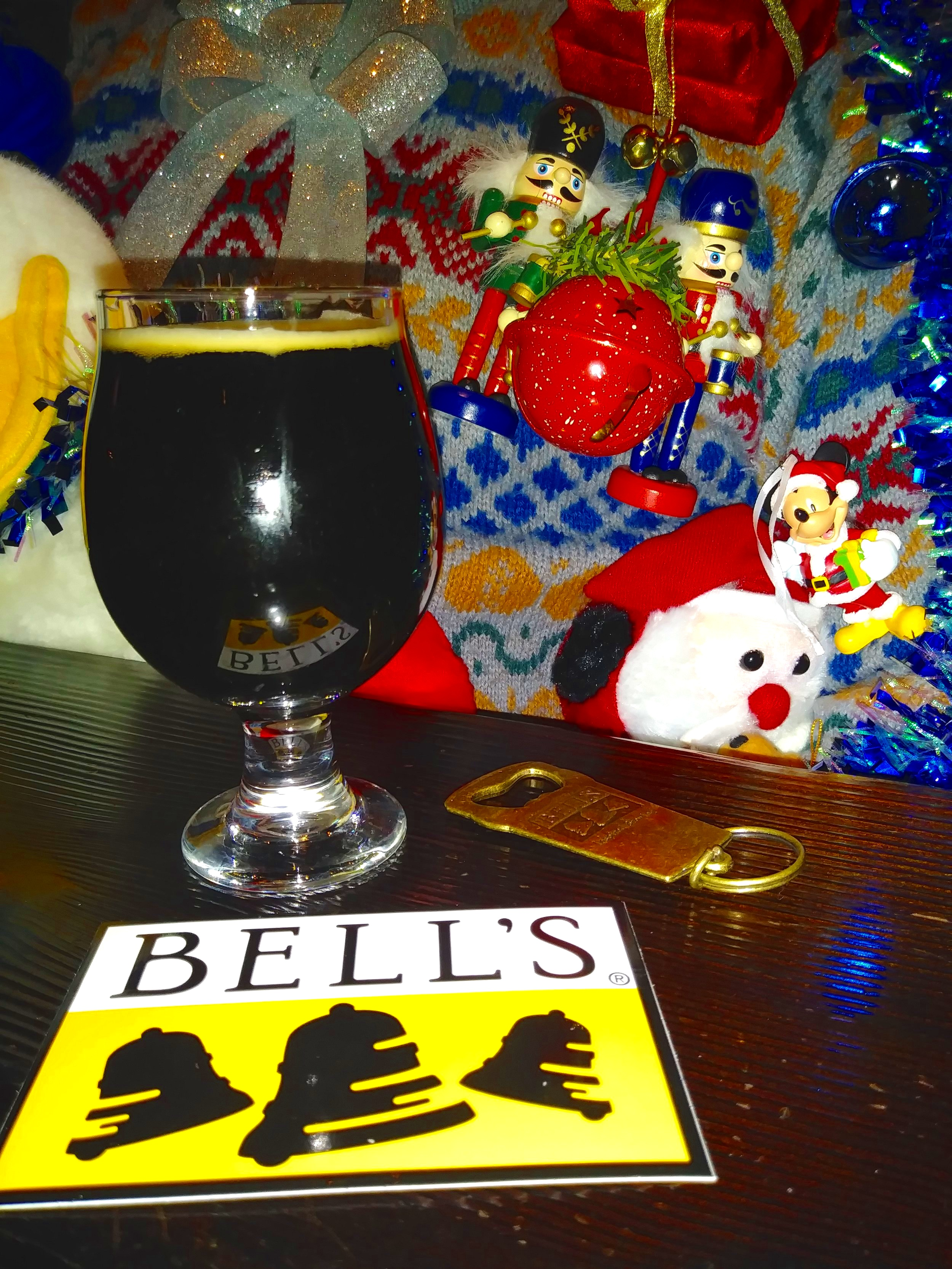 Bell's Bear Hug Stout with my Christmas sweater in the background. Does it look like the nut crackers aren't getting along?