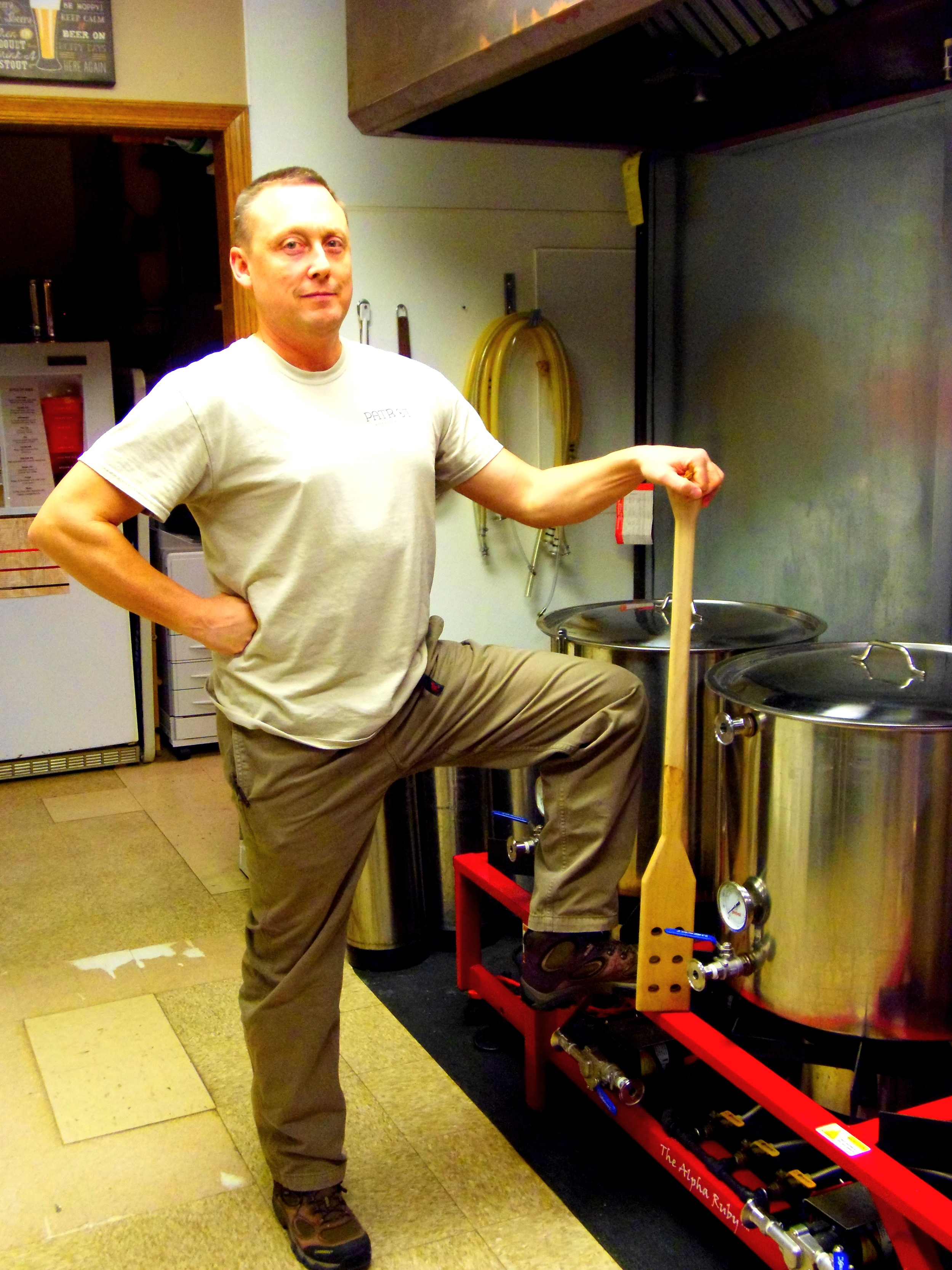 Matt looks right at home near the brew kettles