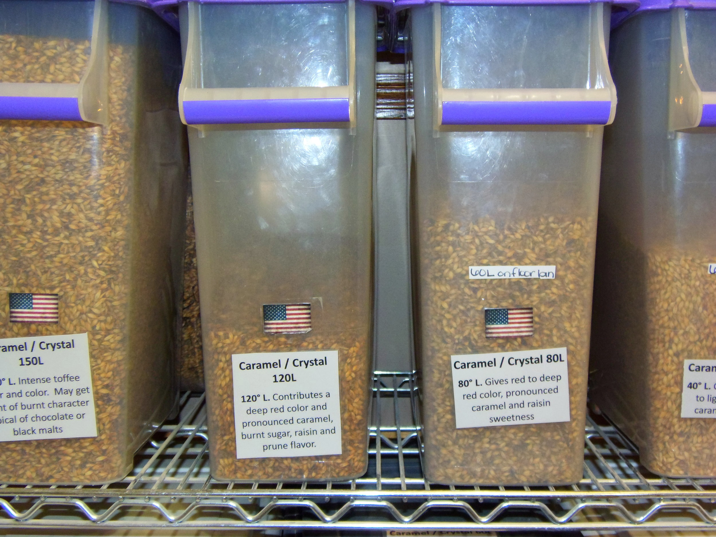 Just a small sample of the different kinds of malt you will find at Patriot Homebrew Supply