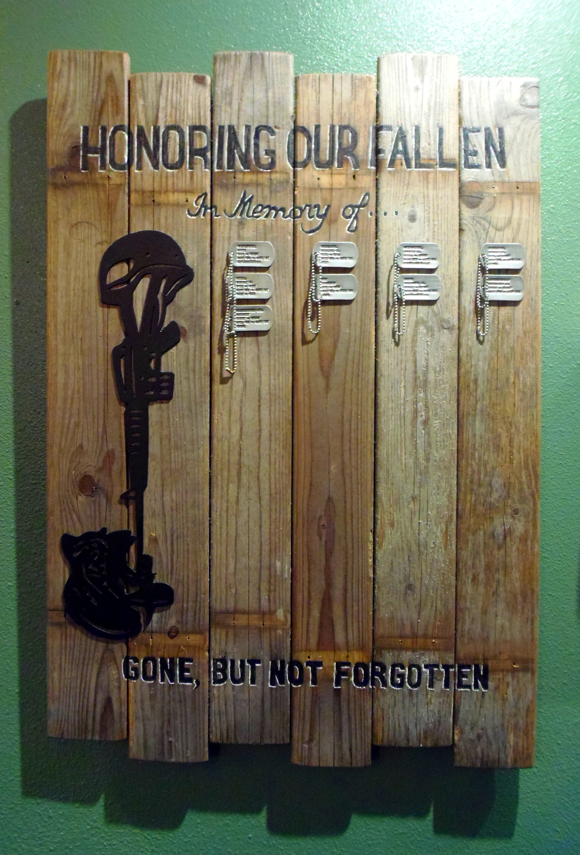 Remembering those that served… John is working toward putting a bronze statue memorial as you come into the cafe