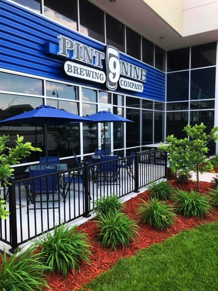 You know you are close to having a great beer as you see the 9! Beautiful front patio space. Photo from PInt Nine Brewing.