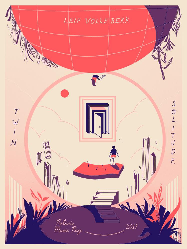 "Polaris Prize Shortlist poster for Leif Vollebekk's 'Twin Solitude'. Screenprint, 18x24"", 2017"